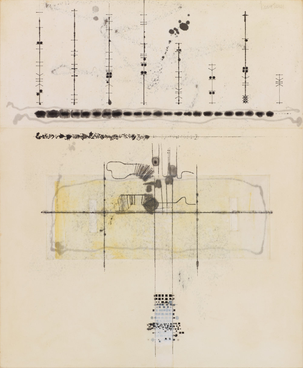 Portrait with thoughts above  (plan), 1980s  Ink on blotting paper  54 cm x 44 cm