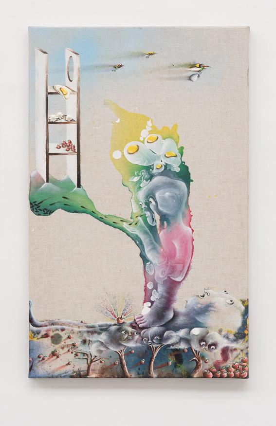 Marlène Mocquet, La tour d'ingrédients   -  2013 Encre, glycéro, bombe aérosol, émail à froid et peinture à l'huile sur toile 61 x 39 cm