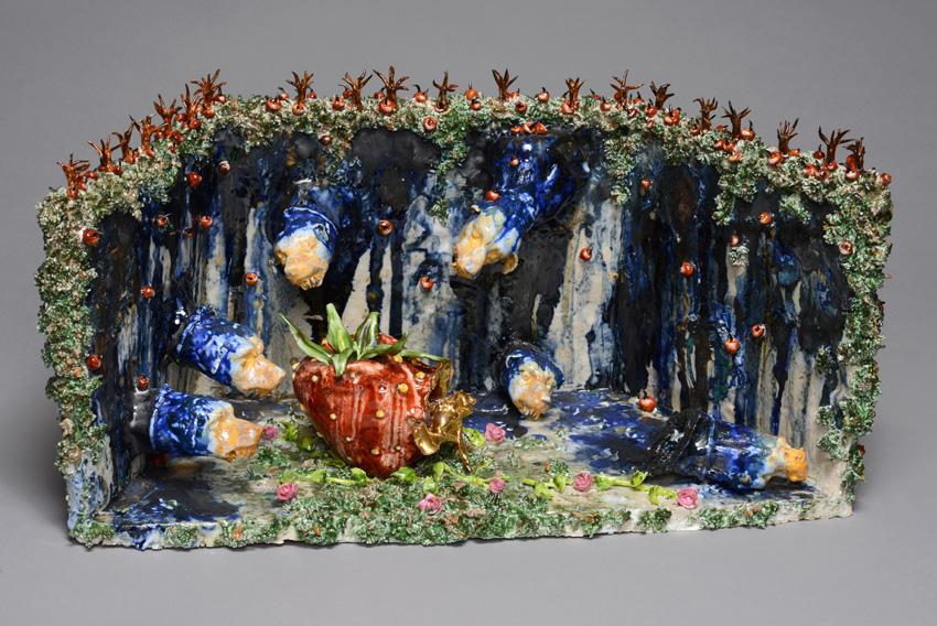 Marlène Mocquet Ciel de chiens orageux - 2013 porcelaine et grès émaillés, 25 x 53 x 23 cm