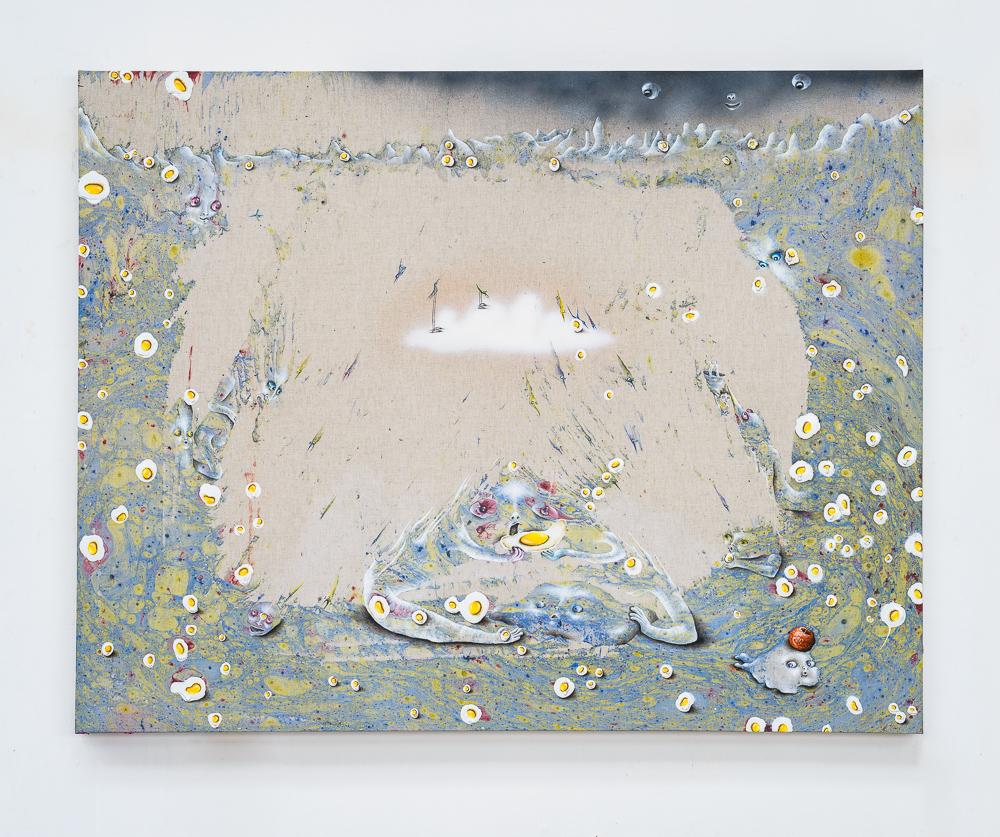Marlène Mocquet, La loge souterraine - 2014 Émail à froid, glycéro, bombe pailletée, spray, aérosol, huile et acrylique sur toile, 114 x 146 x 6 cm