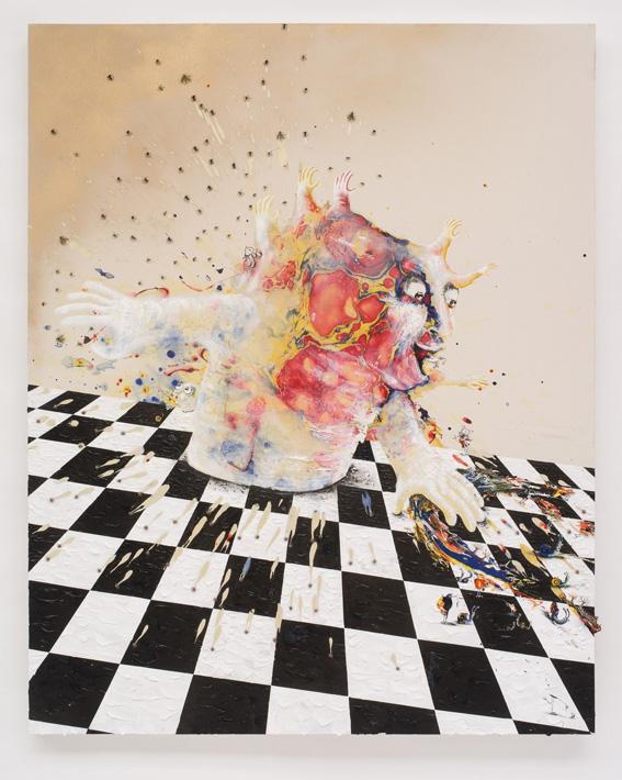 Marlène Mocquet Théâtre de clair obscur - 2012 Acrylique, résine, leurres de pêche, bombe paillettée, bombe aérosol, huile 200 x 160 cm