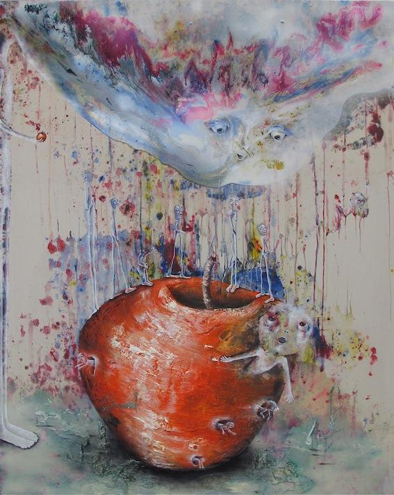 Marlène Mocquet, La pomme monde - 2014 Ré́sine vinylique, ré́sine époxy, émail à froid, huile, spray aérosol et fil sur toile, 200 x 160 x 6 cm