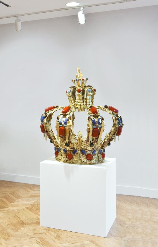 Notre époque a la poésie qu'elle mérite, Exhibition view, brass, semi-precious stones. H90 x ø85 cm, fordProject, New York, 2011