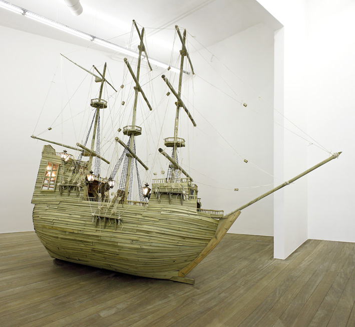 Twice Upon A Time, 2010 - Wood, glass, lamps, ropes -5 x 5 x 2 m
