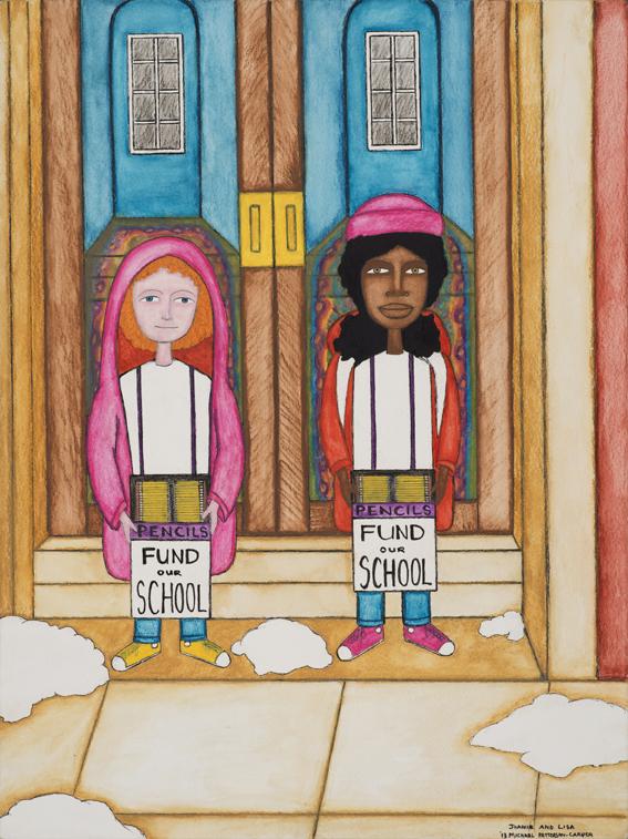 Michael Patterson-Carver, Joanie and Lisa, 2013. Encre, crayon et aquarelle sur papier, 30 x 40 cm