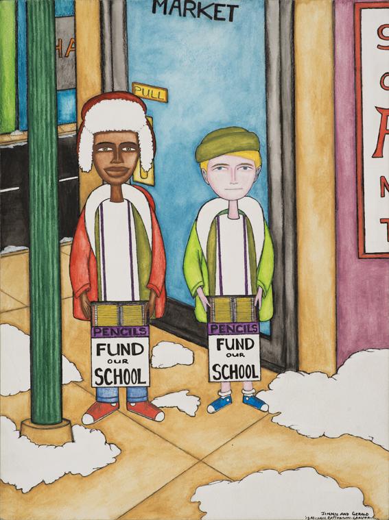 Jimmy and Gerald, 2013. Encre, crayon et aquarelle sur papier, 30 x 40 cm