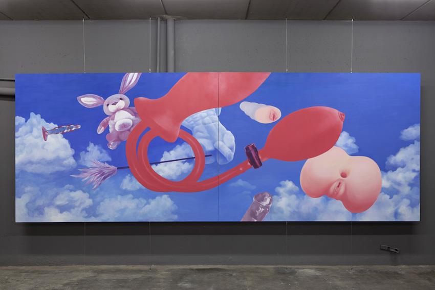 Cantine, 2016, huile sur toile, 217 x 602 x 5,5 cm