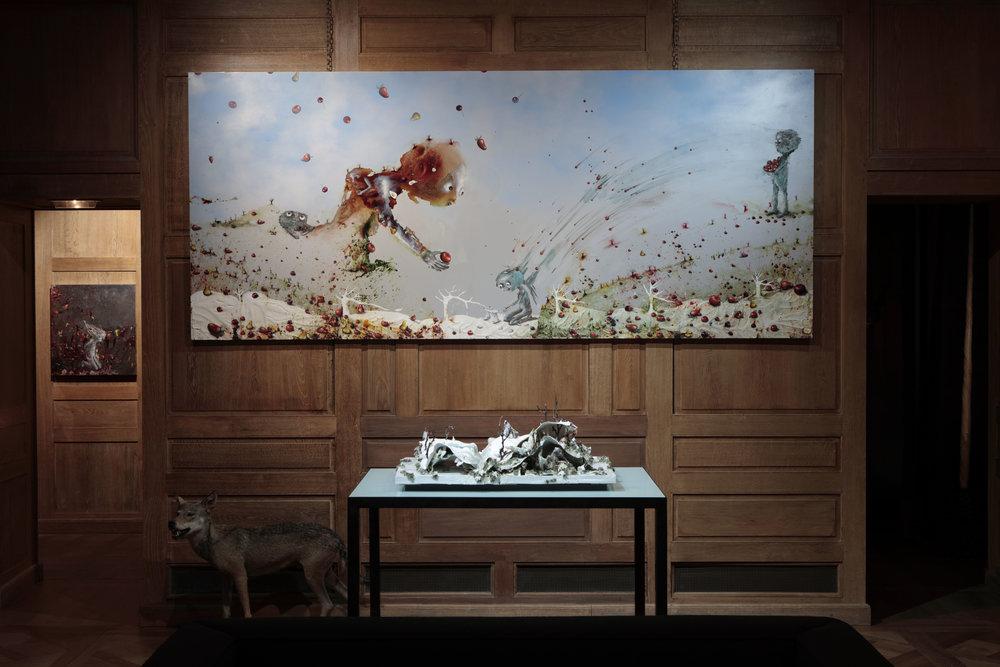 """La page blanche de """"la vie couvée"""", 2016, technique mixte sur aluminium anodisé, 150 x 350 cm"""