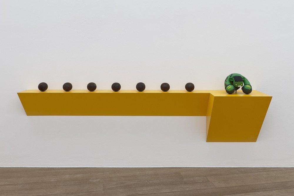 Haim Steinbach ,  Untitled (7 bocci balls, Hulk) , 2012