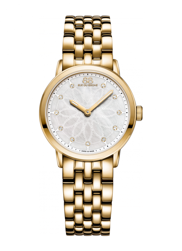 Double 8 Origin - 29 MM Quartz Ladies, with a golden case and bracelet, this quartz watch features an elegant mother-of-pearl dial adorned with 11 diamonds and will look amazing on a formal occasion. Don't be afraid to shine!