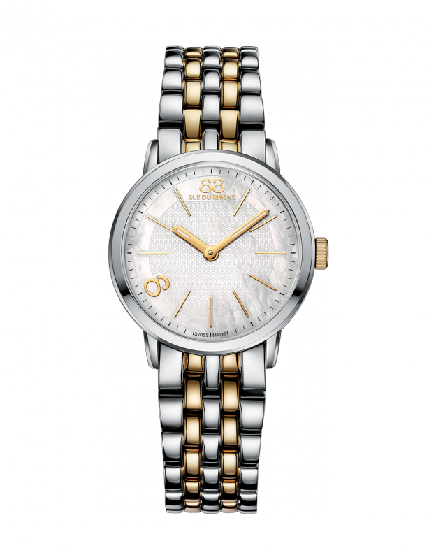 "Double 8 Origin - 29 MM Quartz Elegant and classic with some modern accents, this two-tone stainless steel and yellow gold PVD beauty from 88 RUE DU RHONE features a soft mother-of-pearl dial with a yellow gold PVD Arabic numeral ""8"" index. This watch is feminine and graceful."