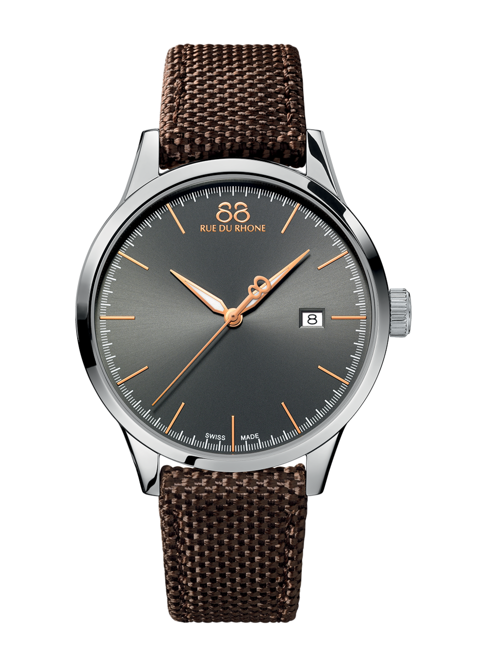 Rive - 41 MM Quartz The elegance of the rose gold on the grey dial mixes with the more casual personality of the Nato strap to create a unique timepiece! Perfect with a suit or a more relaxed outfit, this watch is a true match for all styles!