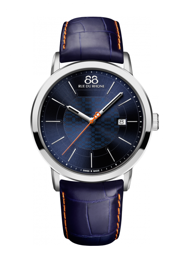 Double 8 origin - 42 MM Quartz Sleek and masculine, this 88 RUE DU RHONE watch has a stunning navy blue dial paired with a supple navy leather band. A subtle 8-filigree motif on the dial and the vibrant orange seconds hand and stitching offset the silver indexes.