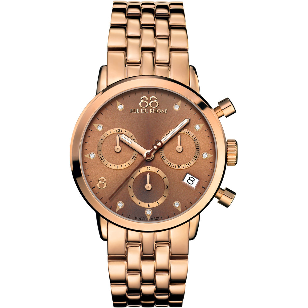 Double 8 Origin - 35 MM Quartz Chronograph This ladies 88 Rue Du Rhone watch is made from PVD rose plating and is fitted with a chronograph quartz movement. It fastens a rose metal bracelet and has a gold dial. The watch has a date function.