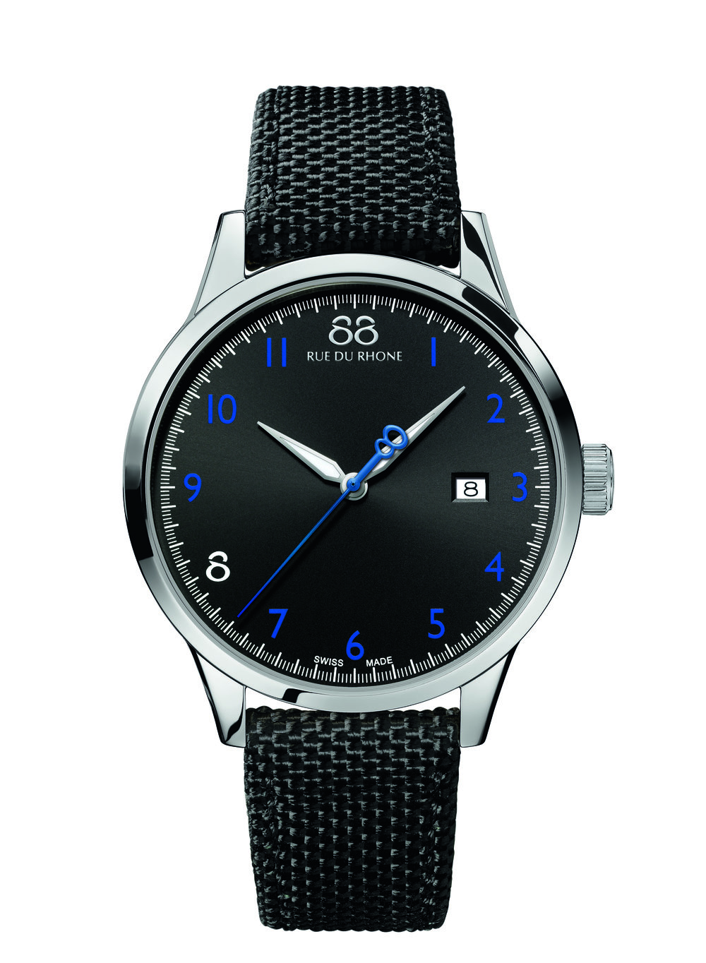 Rive - 41 MM Quartz This watch is a mix classic but modernity. Its black dial and 11 blue numerals shine. The perfect accessory to make your look smart!