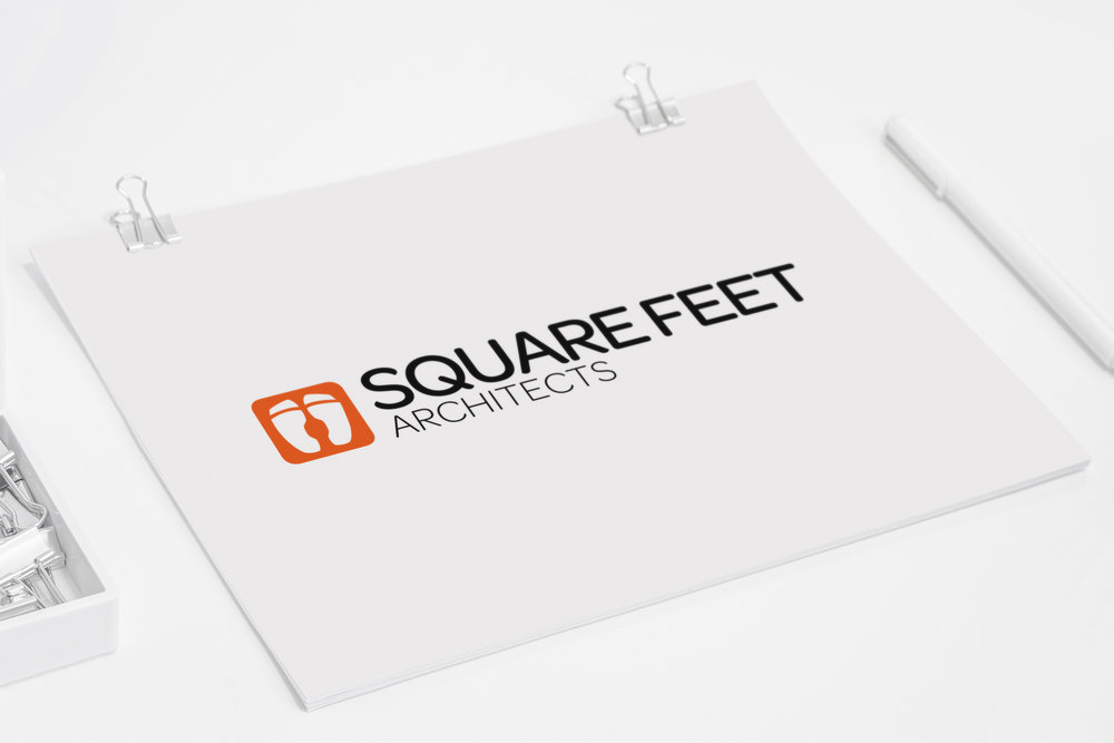 Square Feet logo mockup close-up