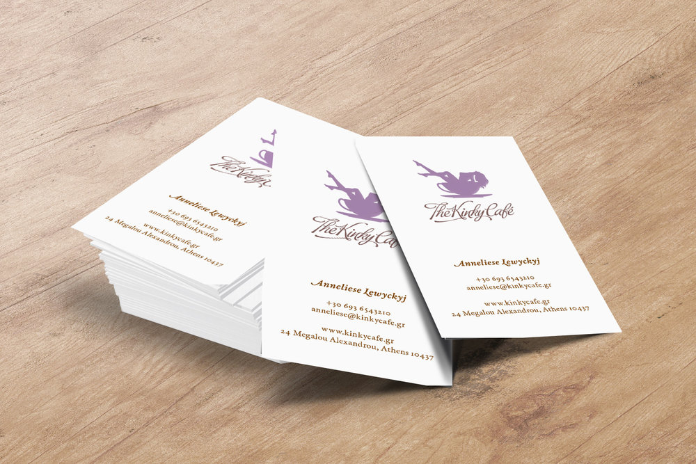 The Kinky Cafe business cards mockup