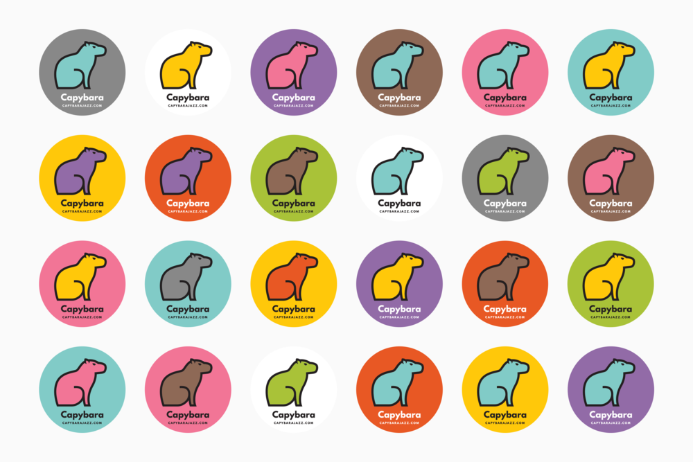Capybara sticker colours