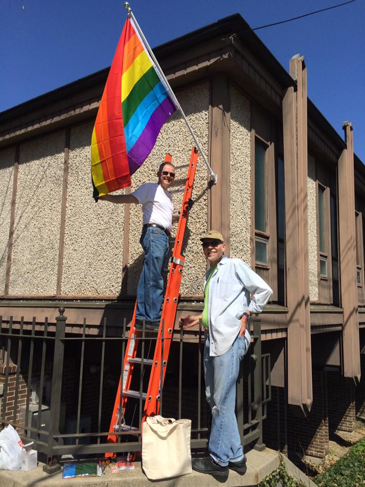 Hanging a fresh rainbow flag
