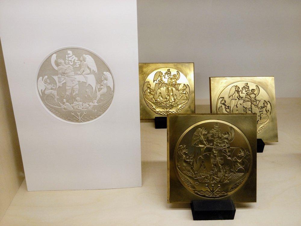 Ulysse et les sirènes , Jean-Luc Seigneur - Gravure en modelé héraldique, technique de gaufrage, enrichie d'un marquage à chaud, permettant d'imprimer plusieurs tons colorés,