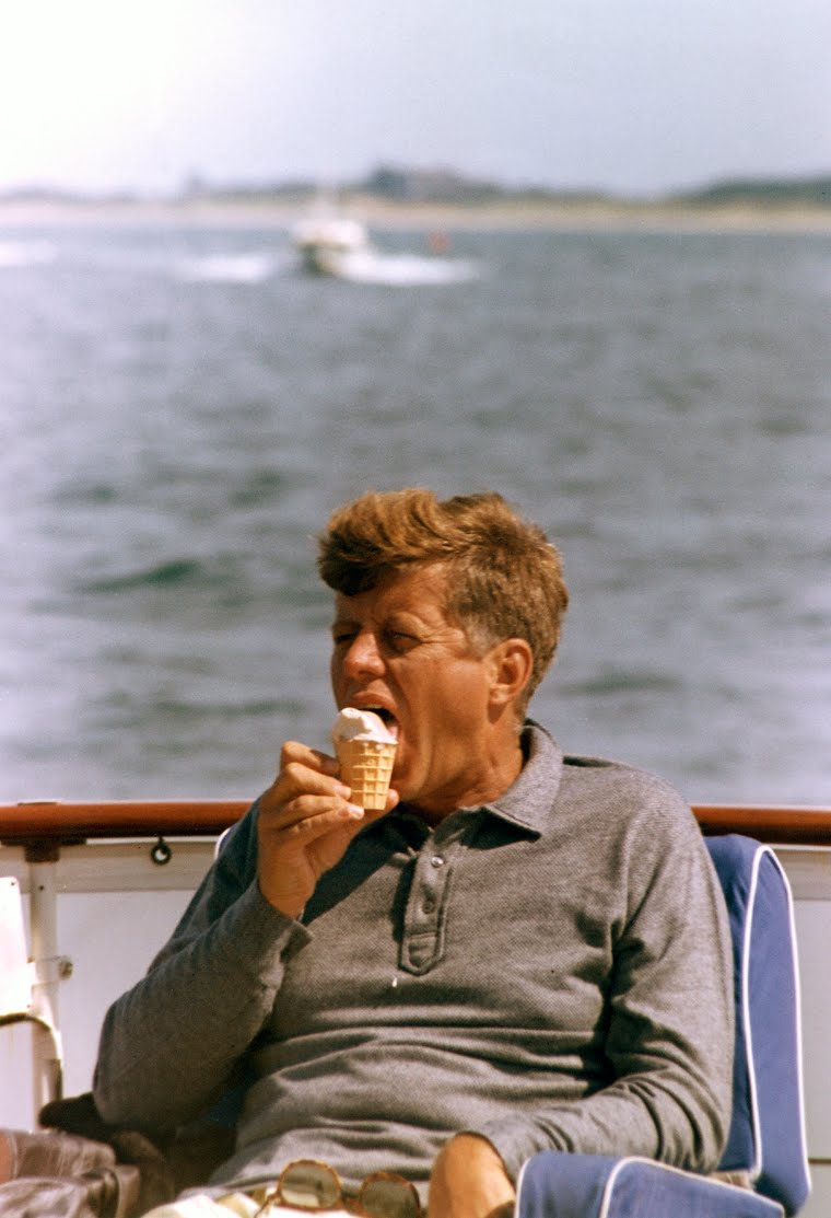 Our 35th President enjoying the finer things.
