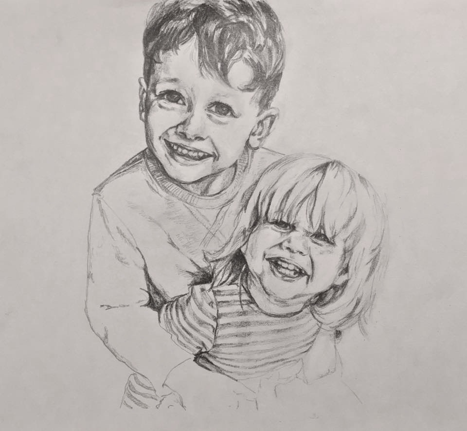 Annie-Abbatt-Pencil-Portrait-Drawing-Children-Arthur-Cleo
