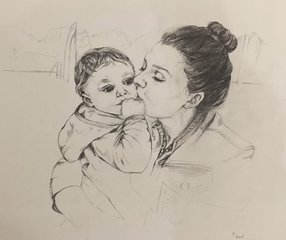 Annie-Abbatt-Pencil-Portrait-Drawing-Mother-Baby-Hannah-Evie