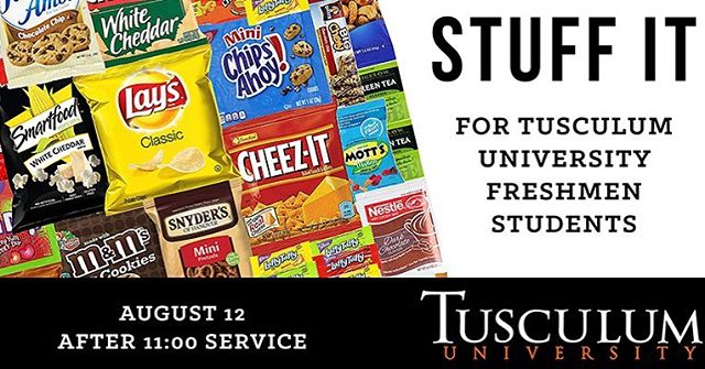 It's that time of year again! We will be putting gift bags together for all the freshman TU students and wanted to give you an idea of some things to get for the bags if your interested! You can bring your donations to the church this Sunday and we will stuffing the bags after 11:00 am service! :)