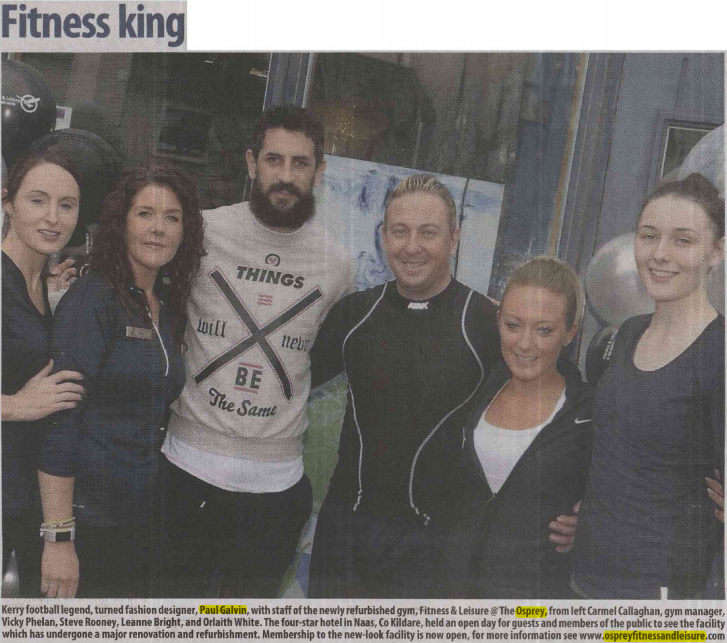 Paul Galvin and some of the OSprey Fitness & Leisure Staff at the Opening of the new leisure centre in Naas