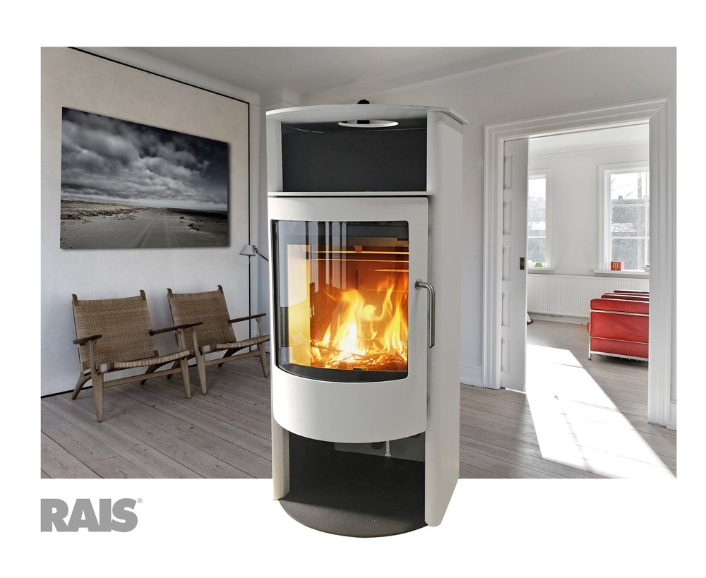 Rais Malta in White - wood stove - 27,000 peak btu/hr