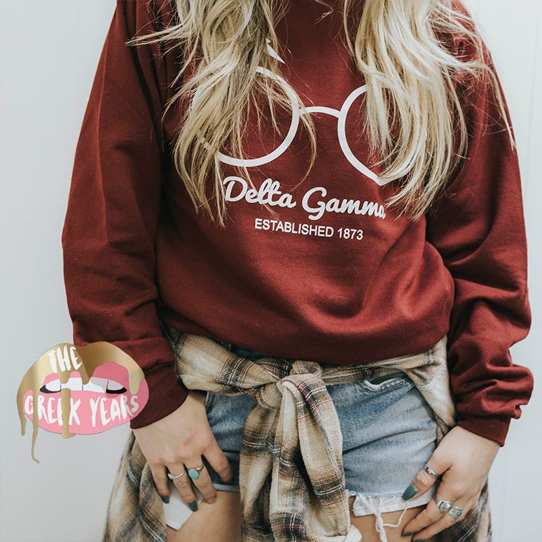 Harry Potter-Inspired Delta Gamma Crewneck Image property of Cady Boughtin Photography. Shirt designed by me for The Greek Years.
