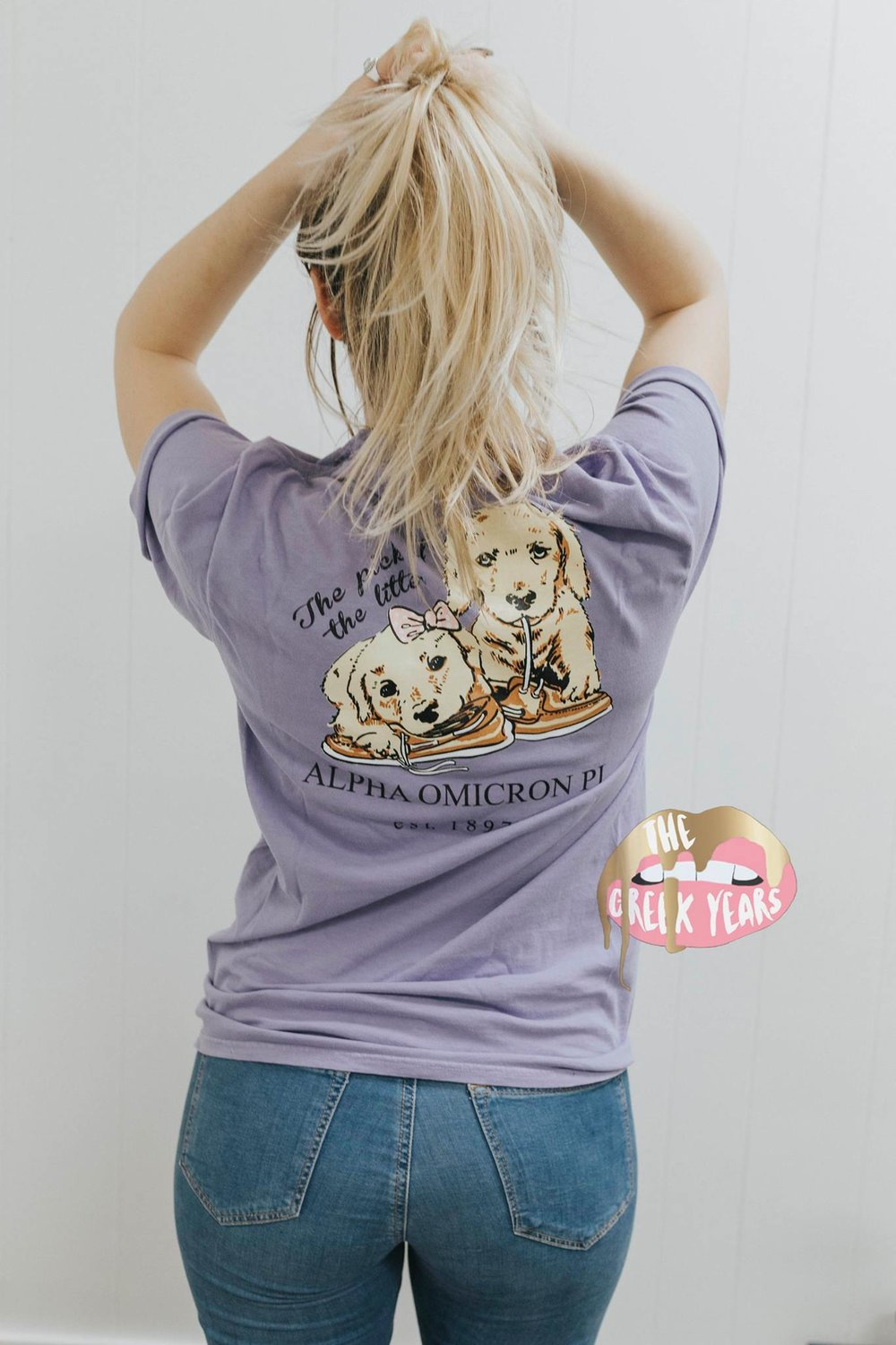 Alpha Omicron Pi Puppy TShirt Image property of Cady Boughtin Photography. Shirt designed by me for The Greek Years.