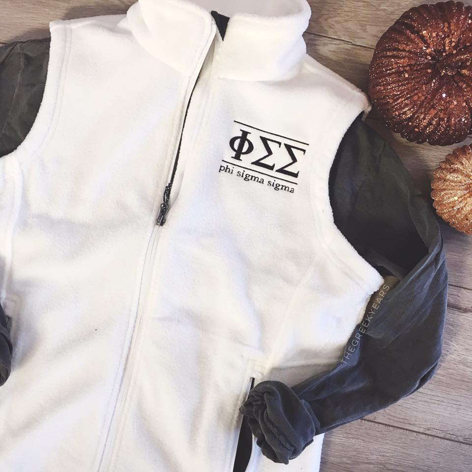 Phi Sigma Sigma Fleece Vest Image property of Cady Boughtin Photography. Shirt designed by me for The Greek Years.