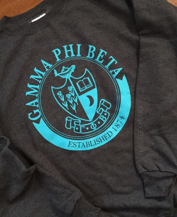 PGamma Phi Beta Crewneck Image property of Cady Boughtin Photography. Shirt designed by me for The Greek Years.