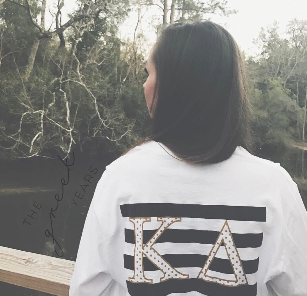 Kate Spade-Inspired Kappa Delta TShirt Customer Image. Shirt designed by me for The Greek Years.