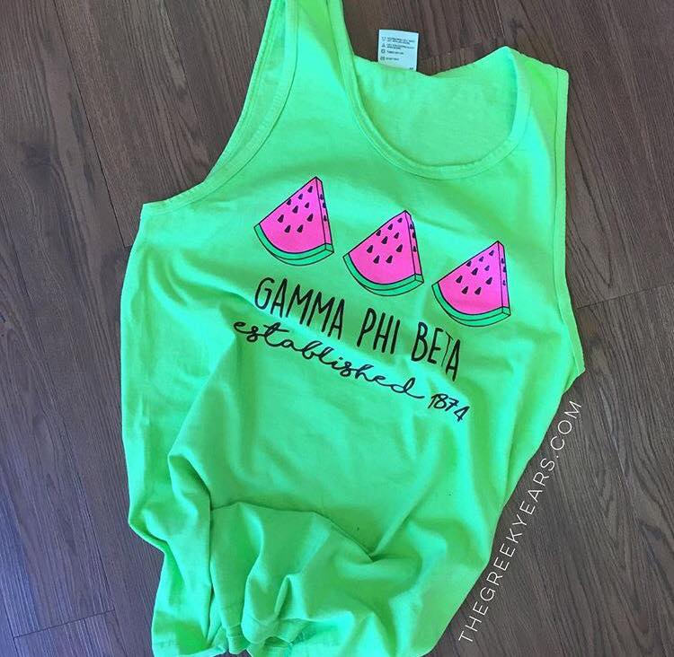 Gamma Phi Beta Watermelon Tank Customer Image. Shirt designed by me for The Greek Years.