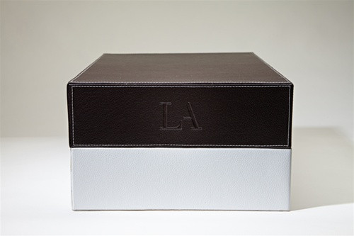 LA LEATHER BOX - BROWN/WHITE