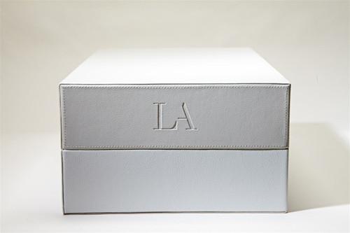 LA LEATHER BOX - GREY/WHITE & STORAGE BOXES u2014 CLOSETPHILE