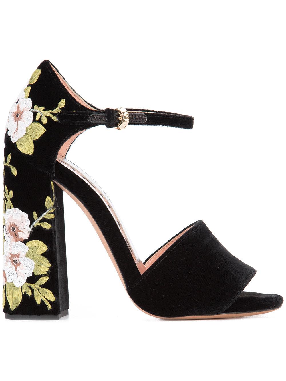 Rochas - Floral Chunky Heel Sandal