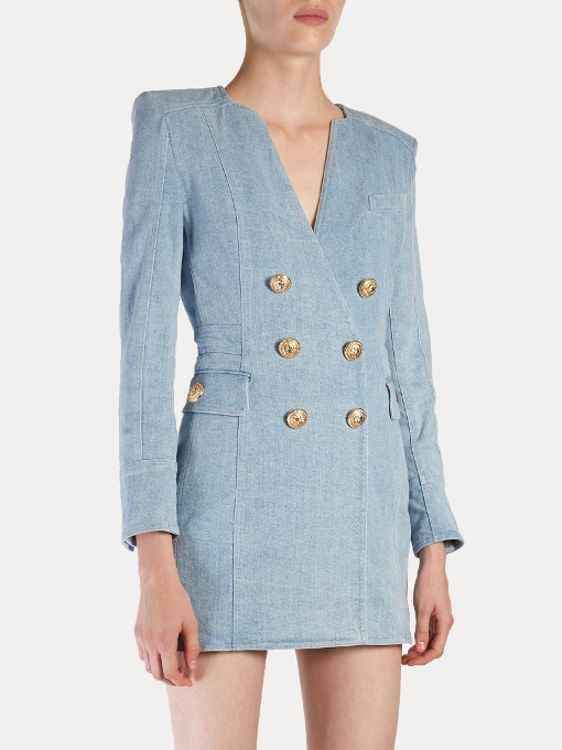 BALMAIN Double Breasted Denim Dress