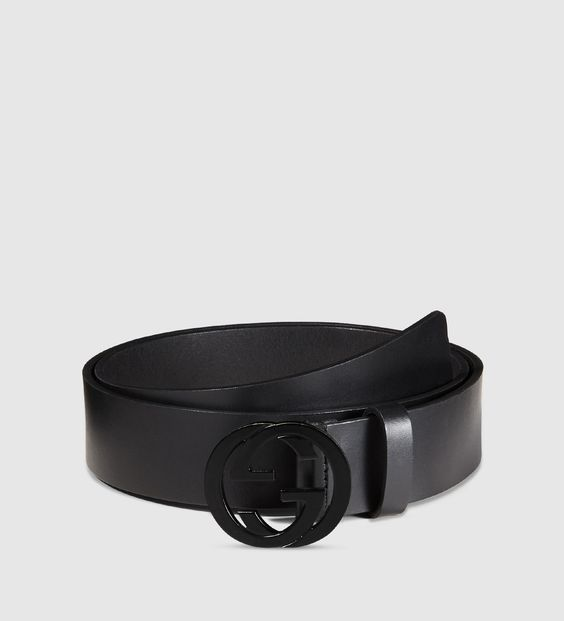 GUCCI Matte Black Logo Belt