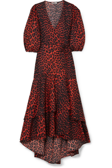 Ganni Bijou Leopard-Print Cotton-Poplin Wrap Dress  -- Ganni continues to be a go-to brand for in-the-know trendsetters and I adore this take on their classic wrap dress. The ruffles and puff sleeves create just the right amount of drama to complement the feminine silhouette.