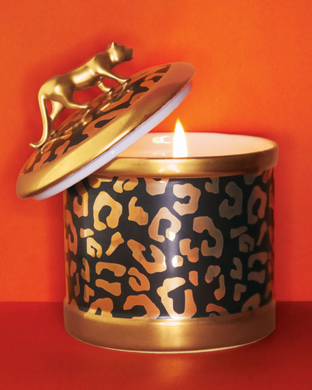 "L'objet Leopard-Design Candleholder & Scented Candle  -- What better way to have your decor say ""hear me roar"" than with a seductive scented candle that can serve as a standout accent in a living area, bathroom or closet?"