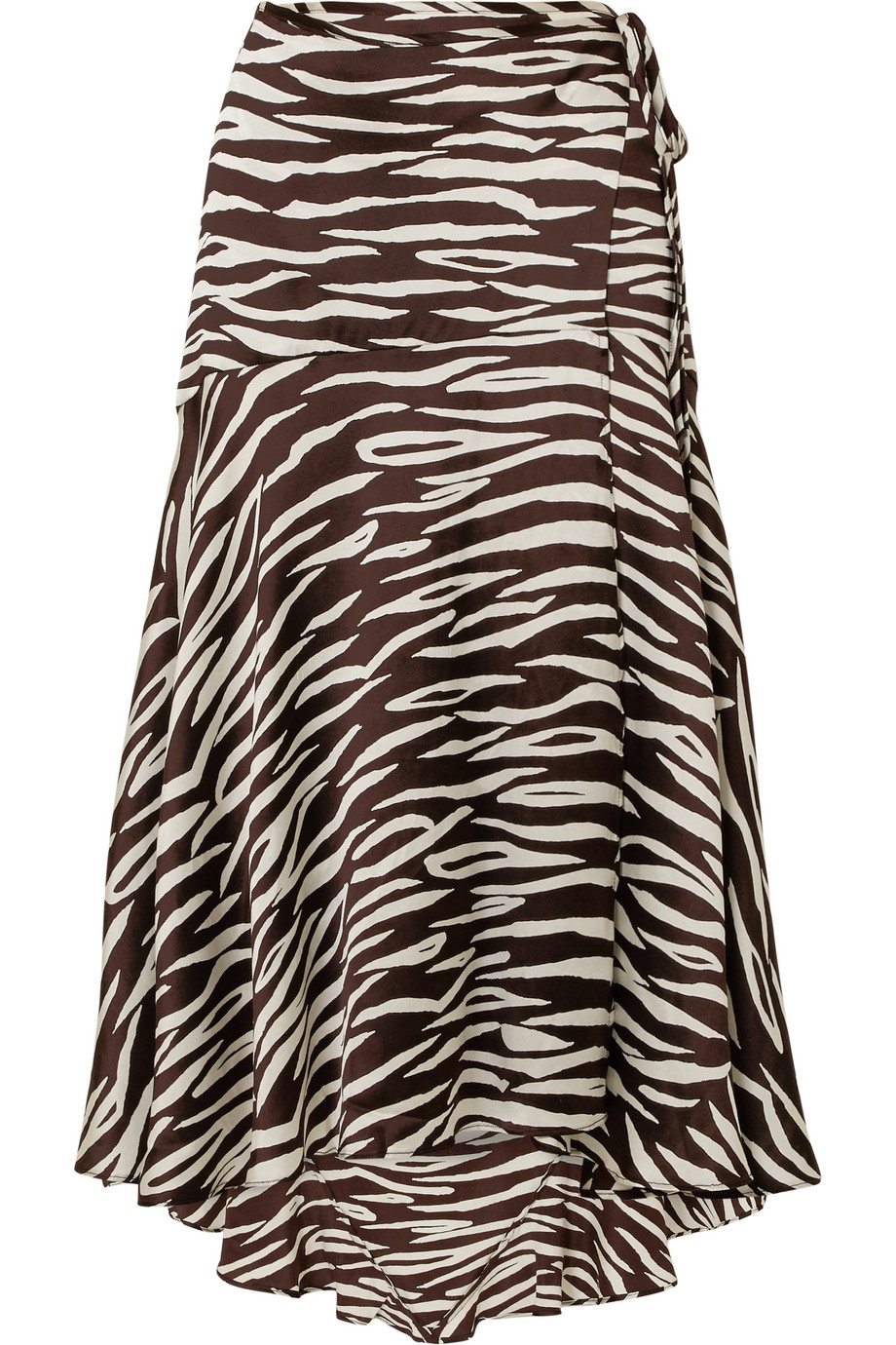 "gianni zebra-print wrap skirt  -- Amanda Norgaard wore GANNI's 'Blakely' skirt to Copenhagen Fashion Week and playfully captioned her Instagram post with ""a lioness disguised as a zebra."" Made from stretchy brown and white silk-satin, it's cut in the brand's signature wrap shape and has a swishy asymmetric hem. Keep your accessories and makeup to a minimum when wearing the print from head-to-toe."