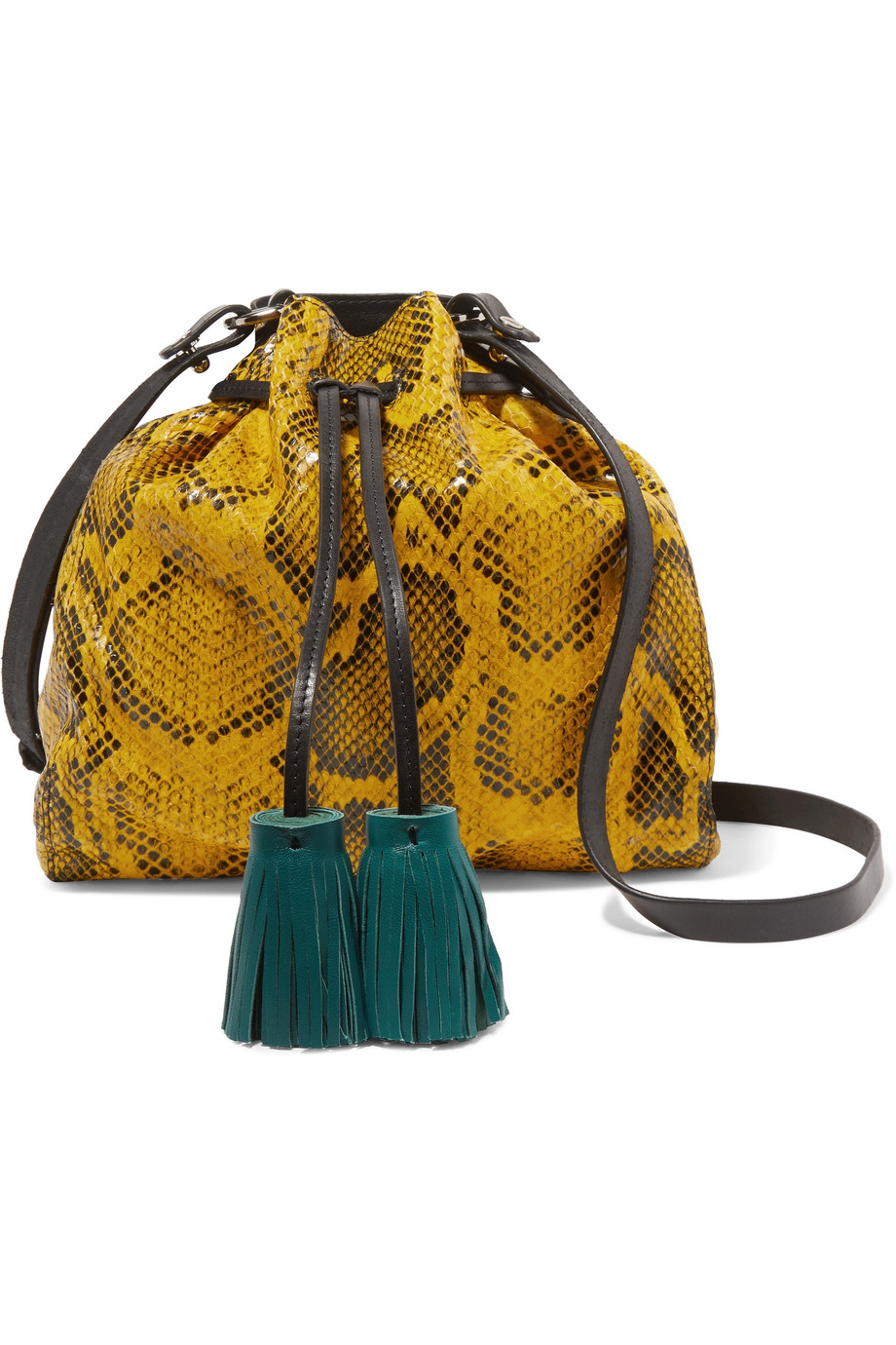 isabel marant beeka leather shoulder bag  -- The 'Beeka' bag is one of Isabel Marant's favorite shapes because it's practical yet original. This season it's updated in vibrant yellow snake-effect leather with contrasting smooth black trims and teal tassels. The interior has enough room for your cell phone, cardholder and keys.