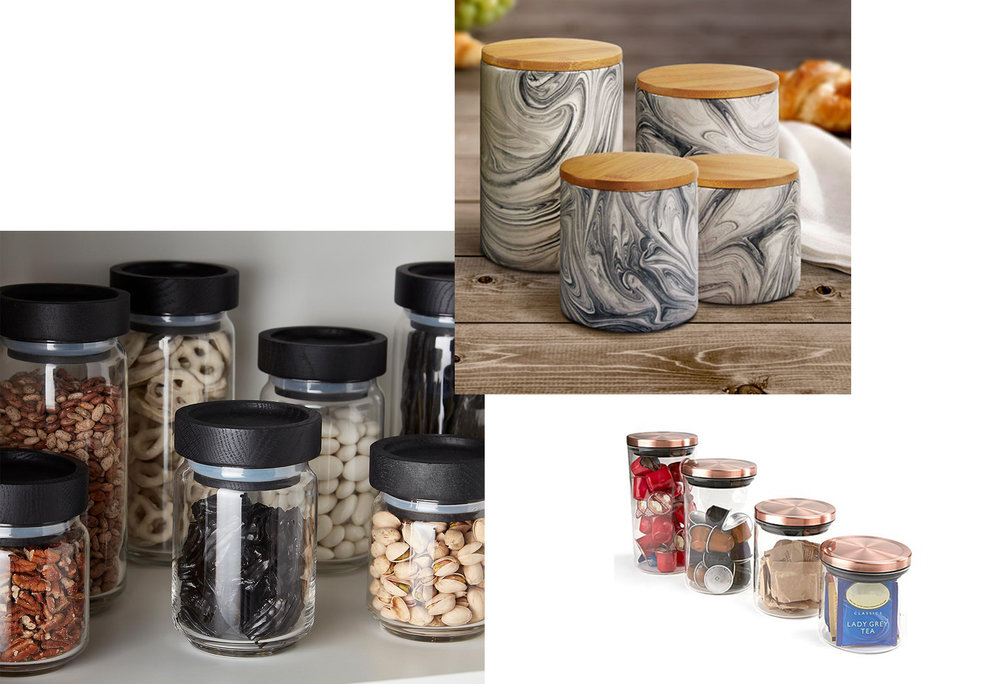 ARTISAN GLASS CANISTERS  |  COPPER LID CANISTERS  |  GREY MARBLE CANISTERS