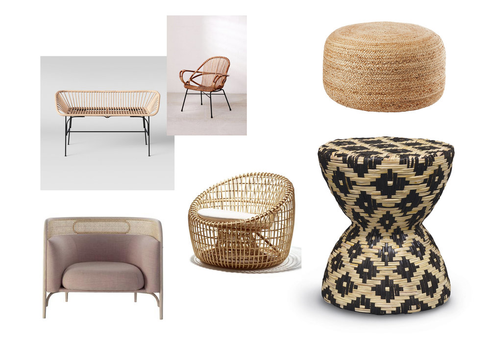 JUTE POUF  |  RATTAN SIDE CHAIR  |  NEST LOUNGE CHAIR  |  HOURGLASS STOOL  |  RATTAN BENCH  |  UPHOLSTERED LOUNGE CHAIR