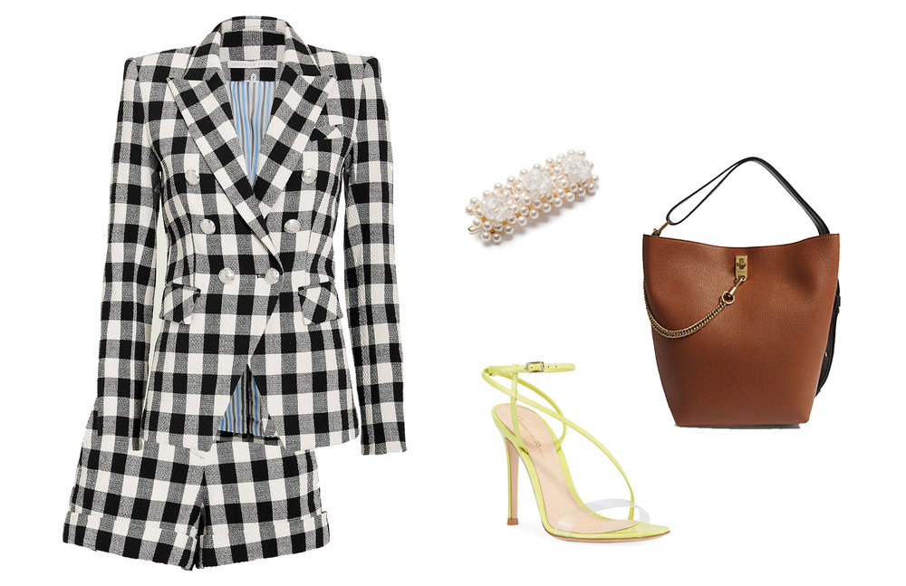 BLAZER  |  SHORTS  |  HEELS  |  BAG  |  BARRETTE