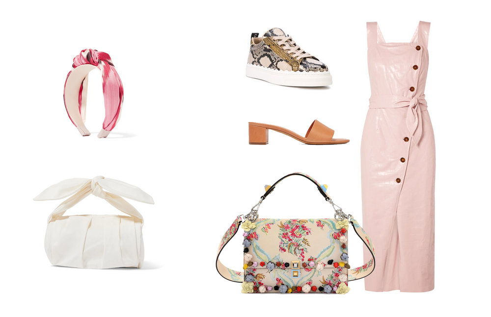 DRESS  |  FENDI BAG  |  LEATHER MULES  |  TWILL HEADBAND  |  CANVAS TOTE  |  CHLOE SNEAKERS