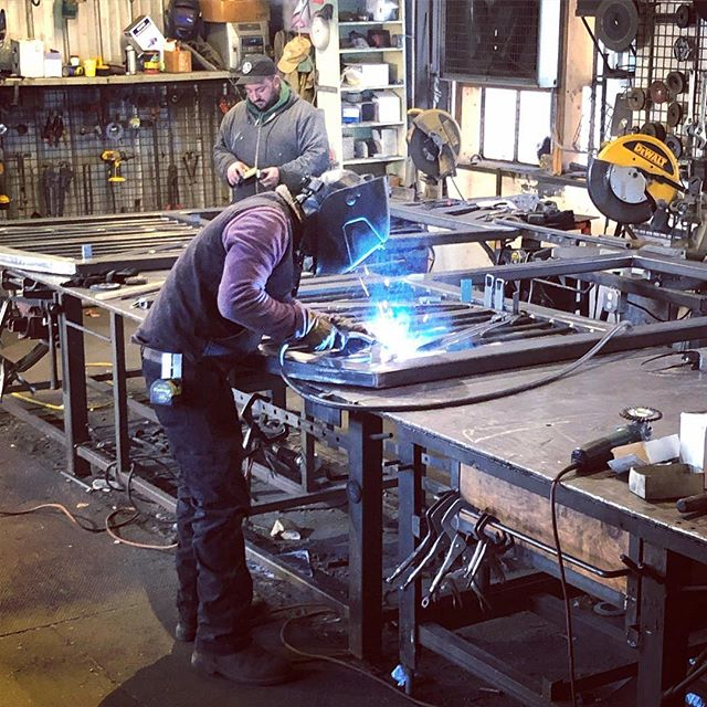 Arched steel doors on the table #weld #weldshop #welding #handcrafted #lancasterma #barndepot